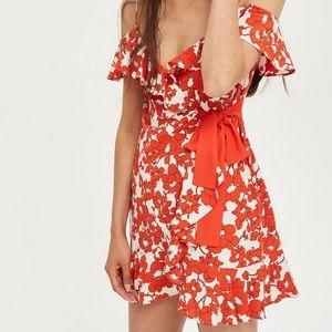 TOPSHOP Poppy Tie Ruffle Dress